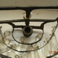 Very Old Architectural Salvage French Sconce with Crystal Prisms