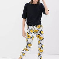 Yellow Floral Print Skinny Trousers Pants