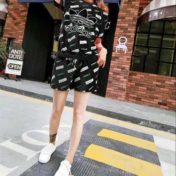"""""""Adidas"""" Women Casual Fashion Letter Pattern Print Short Sleeve Shorts Set Two-Piece S"""
