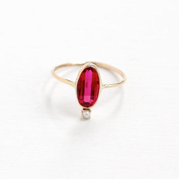 Antique Art Deco 10K Yellow Gold Created Ruby & Pearl Ring- Vintage Size 5 Oval Faceted Pin Gemstone Fine Stick Pin Conversion Jewelry