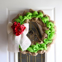Burlap Wreath, Front Door Wreath, Spring, Summer, Christmas Wreath