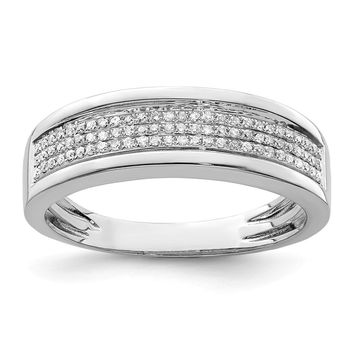 925 Sterling Silver Rhodium-plated Diamond Men's Band Ring