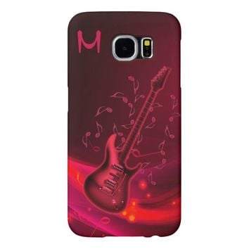 Fiery Red Guitar Monogram Galaxy S6 Case