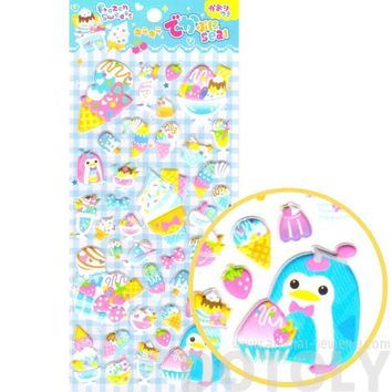 Cartoon Penguin Ice Cream Desserts and Food Themed Puffy Stickers for Scrapbooking