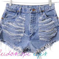 Vintage Wrangler TRASHED Destroyed Denim HIGH WAIST Cut Off Shorts S