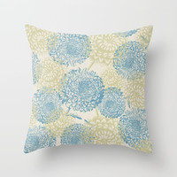 blue and green flowers Throw Pillow by sylviacookphotography