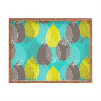 Aimee St Hill Big Leaves Blue Rectangular Tray