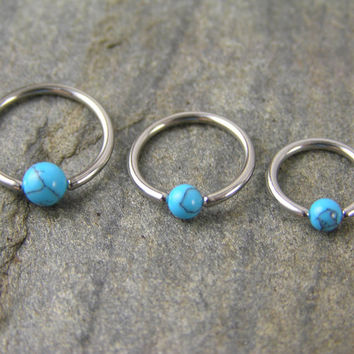 16g Turquoise Stone CBR Captive Ring, tragus, rook, helix, cartilage, hoop, earring, piercing, 16 gauge, 1 ring