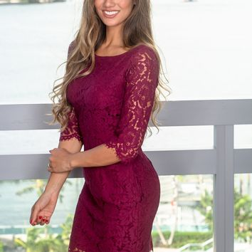Burgundy Lace Short Dress with 3/4 Sleeves