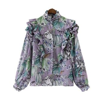 Women's Tops And Blouses Stand Long Sleeve Ladies Shirts Fashion Floral Printed Ruffles Blouse