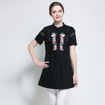 Women Floral Prints Eyelet Shirt Summer 2017 Short Sleeve Cotton Tops Shirts Tunic Plus Size l to 4xl 5xl