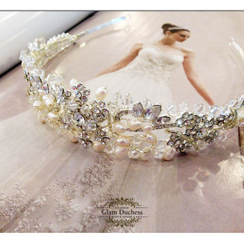 Bridal headband, rhinestone headband, Crystal headband, mother of pearls hair jewelry, pearl headband