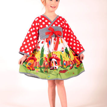 Girl's Kimono Dress with Obi, Girl Dresses, Children Clothing, Child, Toddler dress, Girl Clothing, 24 mos, Size 2T 3T 4T 5 6 7 8, Red