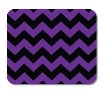 "DistinctInk Custom Foam Rubber Mouse Pad - 1/4"" Thick - Black Purple Chevron Stripes"