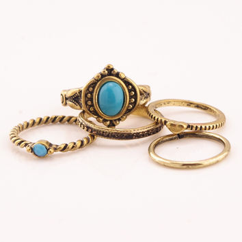 Vintage Punk Ring Set Boho Ethnic Antique Gold Turquoise Carved Hippie Rings for Women