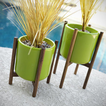 Staggered Pair of Ceramic Planters & Quad Base Walnut Stands - Mid Century Modern Eames Era Bullet Vintage Style Pottery Walnut PS