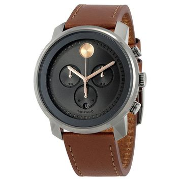 Movado Bold Grey Dial  Brown Band Chronograph Mens Watch 3600421