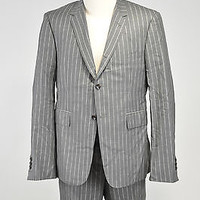NWOT THOM BROWNE GRAY PINSTRIPED WOOL 3 BUTTON SUIT SIZE 3 MADE IN JAPAN