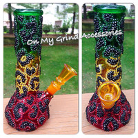 WATER PIPE -- Top to Bottom RASTA Cheetah Print