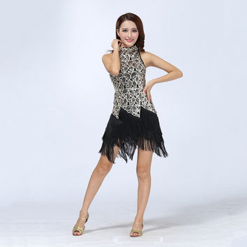 Sexy Bling Latin Sequins Ballroom Salsa Samba Rumba Tango Dress Dance Performance Dress SM6