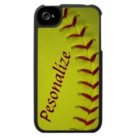 Personalized Dayglo Neon Yellow Softball