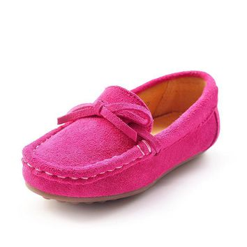 New Boy Girl Children's Bowknot Suede Loafers Flat Shoes Kids Fashion Sneakers Baby Pe