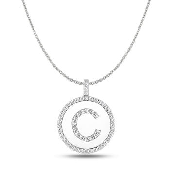 """C"" Diamond Initial 14K White Gold Disk Pendant (0.55ct)"
