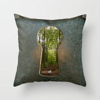 Alice in Wonderland Follow Me Throw Pillow by AndreaClare