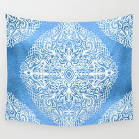 White Gouache Doodle on Pearly Blue Paint Wall Tapestry by Micklyn | Society6