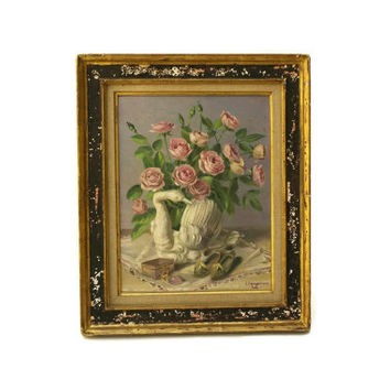 Floral Still Life Painting. Pink Rose and Swan Vase Picture. Framed Flower Art Painting on Canvas. French Art.