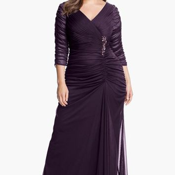 Plus Size Women's Adrianna Papell Beaded Mesh Gown
