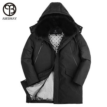 Asesmay 2017 men down jacket high quality snow parkas goose feather men's winter jackets for russia natural fur hooded down coat