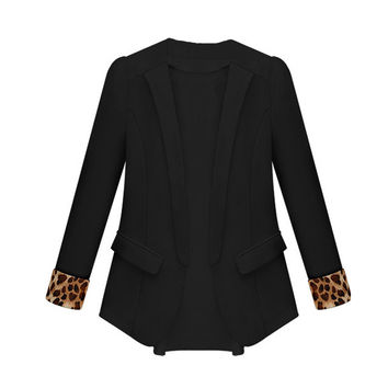 Black Leopard Cuffs Long Sleeves Chiffon Blazer  Coat