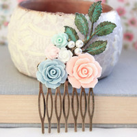 Flower Bridal Comb Wedding Floral Collage Coral Pink Rose Comb White Mint Aqua Pearls Maid of Honor Patina Leaf Bridal Hair Accessories