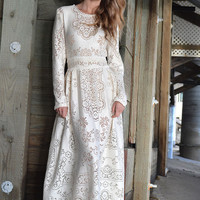 Vintage Ivory LACE Hippie Boho Long Sleeve WEDDING Maxi Dress