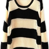 Black Beige Wide Stripes Print Loose Knit Sweater - OASAP.com