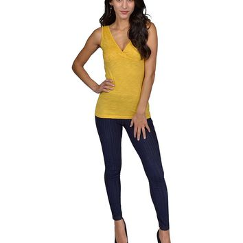 d41291e34b Ladies Mustard Basic Tank Top V Neck featuring Lace Detail Front