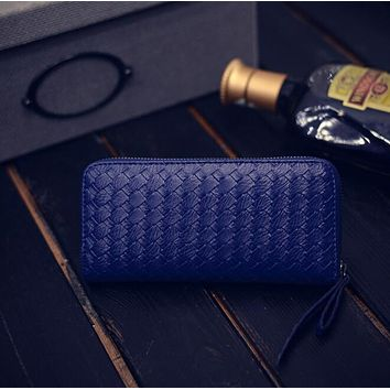 Women fashion new purse hot style weave a long zipper hand bag lady wallet fashion mobile wallet