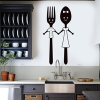 Vinyl Wall Decal Funny Spoon and Fork Kitchen Restaurant Dining Room Stickers Unique Gift (ig4942)
