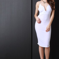 Spaghetti Strap U-Neck Bodycon Midi Dress