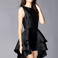 Black Sleeveless Cascading Ruffle High Low Dress