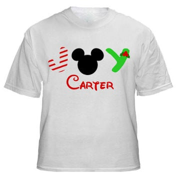 Christmas JOY Mickey or Minnie Mouse Personalized T-shirt with Name - Birthday shirt, Party shirt, Disney trip