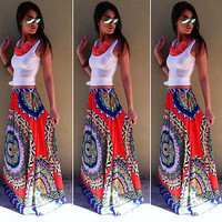 New Fashion Womens Summer BOHO Skirts Long Maxi Floral Printing Beach Sexy Skirt