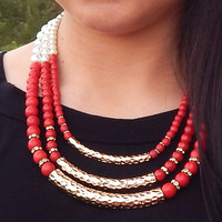 Game Day Pearl Necklace {Red/White}