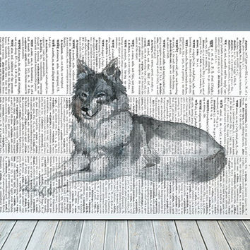 Wildlife print Watercolor art Wolf poster Dictionary print RTA2154