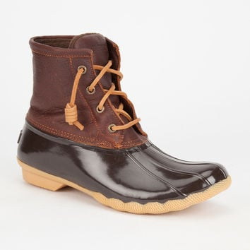 Sperry Saltwater Womens Duck Boots Brown Combo  In Sizes