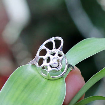 Silver Nautilus Ring, Gift for her, Seashell Ring, Shell Jewellery, 3D printed in Sterling Silver, free shipping