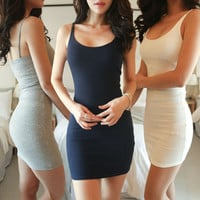 Casual Dresses sleeveless 2016 summer womens tank dress cotton sexy tight fitting suspender plus size women dress Cotton bodycon