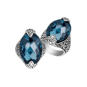 AR-6234-LBT-9'' Sterling Silver Ring With London Blue Topaz