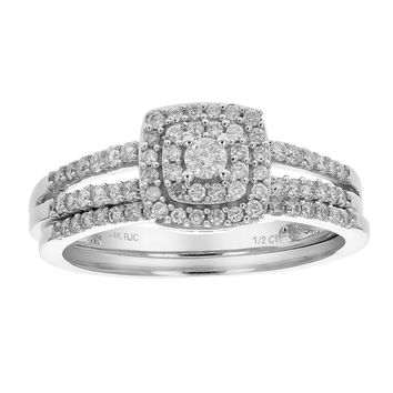 0.40 Carats 1/2 CT Diamond Wedding Engagement Ring Set 14K Gold